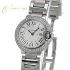 Cartier Ballon Bleu Silver Dial 3009 Diamond Bezel Ladies 28mm Watch w/Box