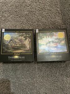 Thomas Kinkade 750 Puzzle Lot Of 2 The River Queen Lovelight Cottage NEW SEALED