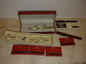 Vtg Sheaffer 1005 pen Fountain Pen And more Lot Gold Tone Red Green