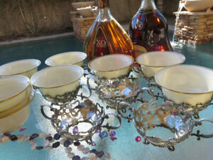 19pc Aesthetic Early GORHAM CUP HOLDERS STERLING SILVER RARE LENOX BOWL HEAVY