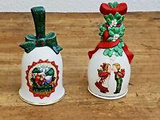 Vintage Avon Christmas Bells 1989 & 1990 Porcelain, Gold Tone Trim