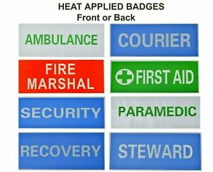 Badges Reflective Hi Visibility Back or Front Heat Applied Iron On  8 Options