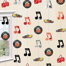 Pack of 6 Rock & roll Hanging Party decorations Record, Musical Notes, Dice, Car
