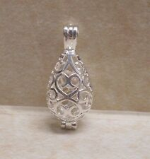 Shiny Silver-Plated Filigree Teardrop Cage Locket - Pendant Wish Prayer Box