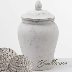 Shabby Chic ceramic GINGER JAR rustic stone finish home decor display ornament