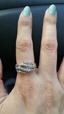 14Kt White Gold Woman's Fashion Ring with 94 Baguette & Round Diamonds 1.00 ctw