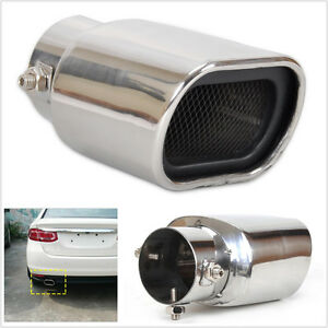 1x Universal Stainless Steel Car Straight Exhaust Pipe Tip End Tail Muffler 63mm