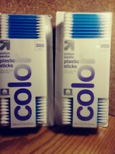 Pack of 2 UP & UP Cotton Swabs 300 Count Each Blue Plastic Sticks