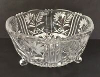 """Crystal Glass Footed Bowl Dish Clear Thick Floral Star Sawtooth 7 1/2"""" Wide"""