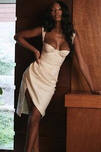 HOUSE OF CB 'Omaria' Ivory Draped Corset Dress /Size S-US 4-6/PH3584