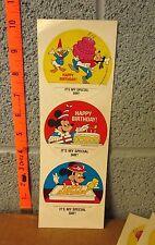 WALT DISNEY vtg lot of 3 Happy Birthday stickers Goofy 1978 Minnie Donald