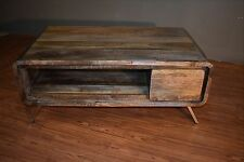 Rustic Reclaimed Solid Wood Coffee Table with one drawer