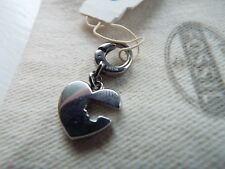 BNWT Fossil Charm heart, silver colour & cloth bag for bracelet or necklace NEW