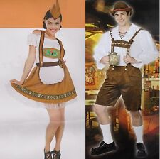 BAVARIAN COUPLES COSTUMES Adult Small Barmaid Lederhosen German Oktoberfest NEW