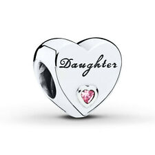 NEW AUTHENTIC PANDORA STERLING SILVER DAUGHTER HEART CRYSTAL CHARM 791726PCZ UK