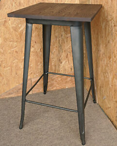 TARNISHED METAL TOLIX TALL BAR STOOL TABLE RETRO FRENCH BISTRO CAFE RESTAURANT