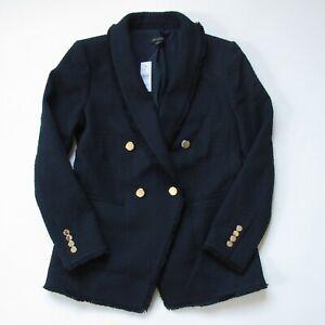 NWT Ann Taylor Double Breasted Tweed Blazer in Night Sky Blue Black Fringe 6