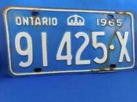 ONTARIO LICENSE PLATE 1965 91425 X VINTAGE CROWN CANADA  CAR GARAGE SHOP SIGN