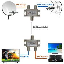 Einschleusweiche für Sat + Kabel TV - DVB-T2 - UKW - DAB+ Combiner 4K Diplexer