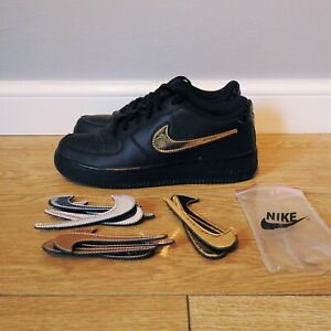 Nike Air Firce 1 AF1 LV8 3 Black Removable Swoosh Trainers size 6 UK AR7446-001