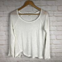 Adriano Goldschmied Women's White Long Sleeve Textured Linen Blend Top XS