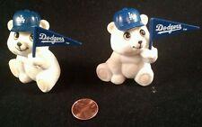 2 LA Dodgers white 2 inch Teddy Bear  with pennant & Baseball hat Russ MLB