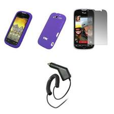 HTC myTouch 4G Purple Soft Silicone Case+Screen Protector+Car Charger