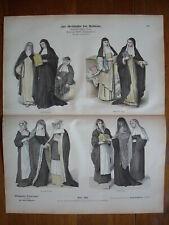 Costume,  Religious orders, nuns, 18TH C..Antique print.....C1880