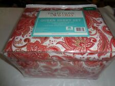 Traditions by WAVERLY XDeep flannel QUEEN Sheet set - Red - taupe -white paisley