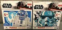 Disney Star Wars Lot of (2) 100 Piece Puzzles: R2D2 & Storm Trooper - Brand New
