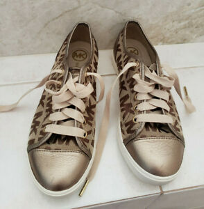 Like New Genuine Michael Kors Sig Brown Canvas & Lt Brown Leather Laced Sneakers