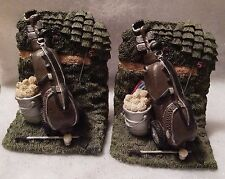 Molded Golf Bag Club Ball Collectible Bookends Book Ends Golfer Gift Sports Euc