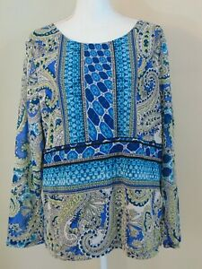 Chicos Paisley Print Nylon Top Women's Size 3 XL 16 Teal Blue Green Pullover