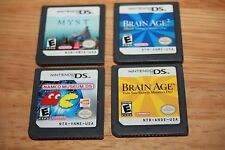 Namco Museum DS Brain Age 1 & 2 Myst total of 4 Cart all work and come in cases