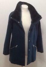 Teal Coat With Fur Trim Collar Size UK 8