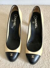 Chanel Round Toe Court Shoes Size 38.5 Beige Black