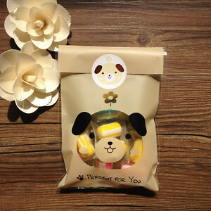 Brown POPO Dog Animal Cello Cellophane Party Wedding Favour Biscuit Gift Bags