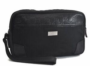 Authentic GUCCI Guccissima Leather Canvas Clutch Hand Bag Black B8184