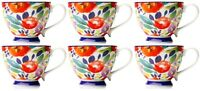 Set of 6 Large Oversized Bone China Mugs Coffee / Soup Mugs Floral Tropical