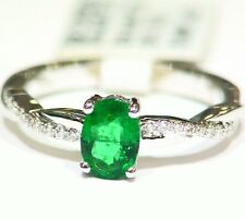 .69CT 14K Gold Natural Emerald White Cut Diamond Vintage AAA Engagement Ring
