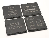 Personalised natural slate stone sign coaster engraved gifts presents idea