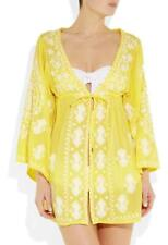 MELISSA ODABASH Yellow Embroidered Cotton Kaftan Cover Up Top SZM Dress