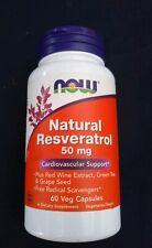 NOW Foods Natural Resveratrol 50 mg 60 Veg Caps antioxidant
