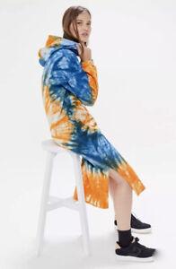 Urban Outfitters Asher Maxi Sweatshirt Dress Hoodie Tie Dye Blue Orange S NEW