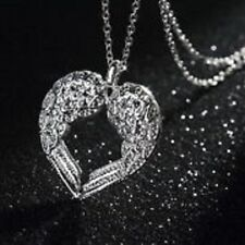 Angel Wing Heart Pendant Necklace 925 Silver