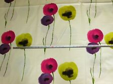'Poppies' Blackberry, A. Sanderson Floral 100% Cotton Furnishing Fabric, 2.0+ mt