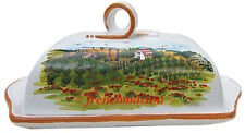 Italian-Made Art BUTTER DISH Handmade Handpainted Tuscan Country Ceramic New
