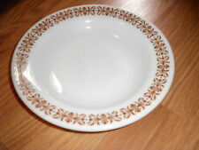 """PYREX RIMMED BOWL GLASS W BROWN DSGN 9"""" DIA LOVELY set of 7"""