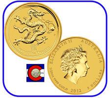 2012 Lunar Dragon 1/20 oz $5 Gold Coin, Series II, Perth Mint in Australia