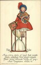 Tuck New Year Ye Olden Days Girl Giant Hourglass Schmucker c1910 Postcard EXC